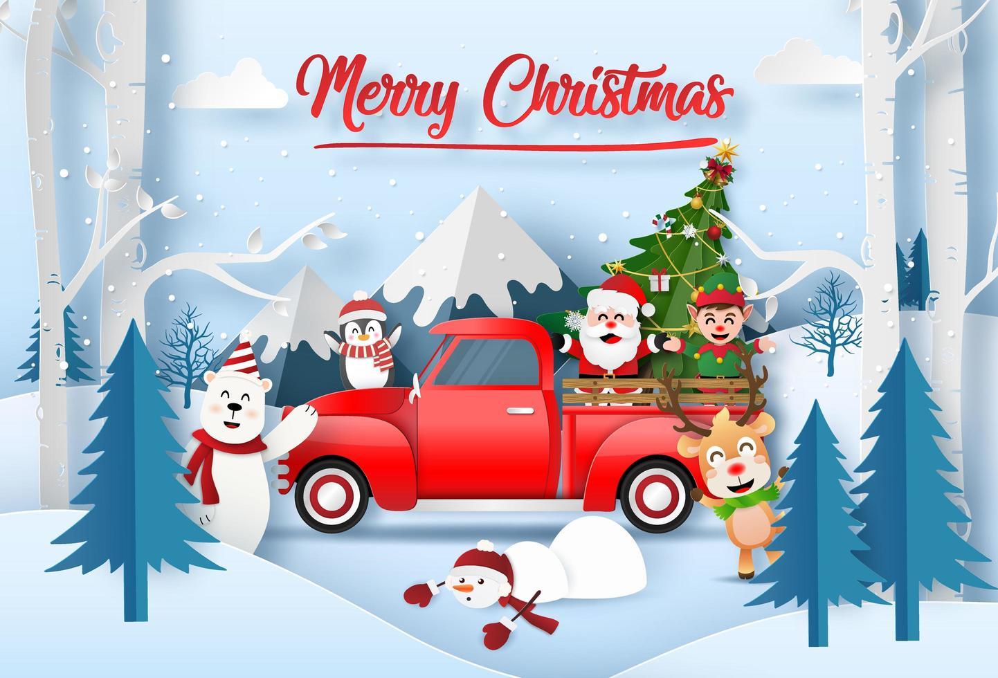 arte di carta origami di Babbo Natale con un amico festeggia per Natale in montagna con camion rosso vettore