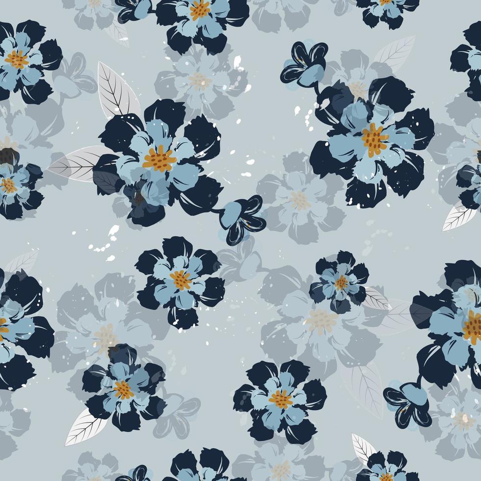 motivo floreale vintage blu vettore