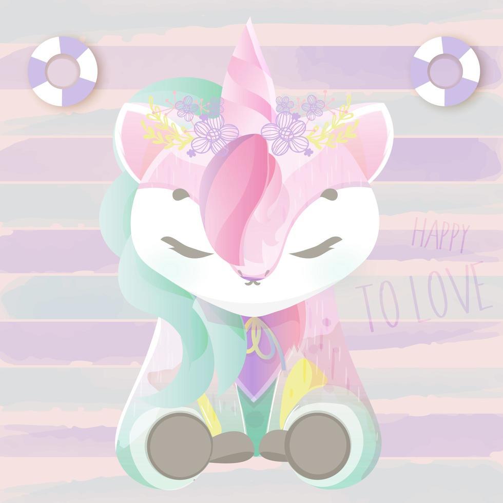 Unicorno dell'acquerello con corona di fiori vettore