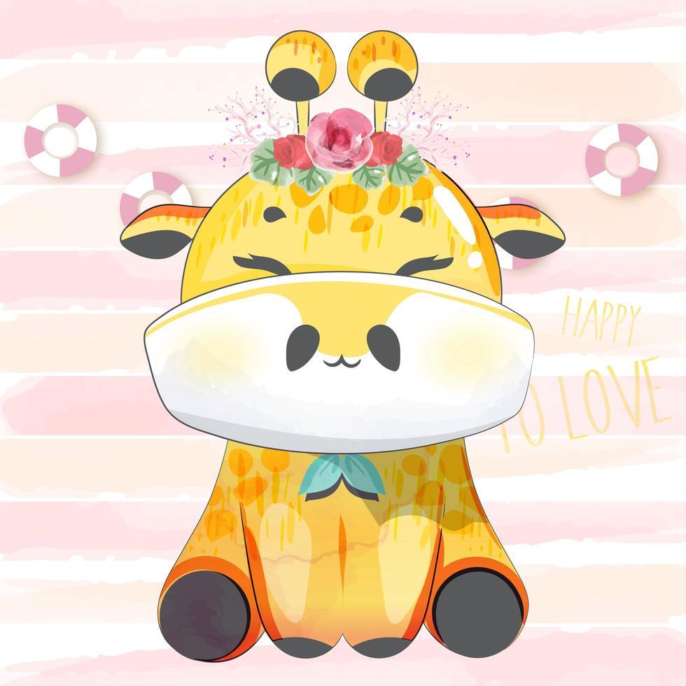 giraffa felice con corona di fiori vettore