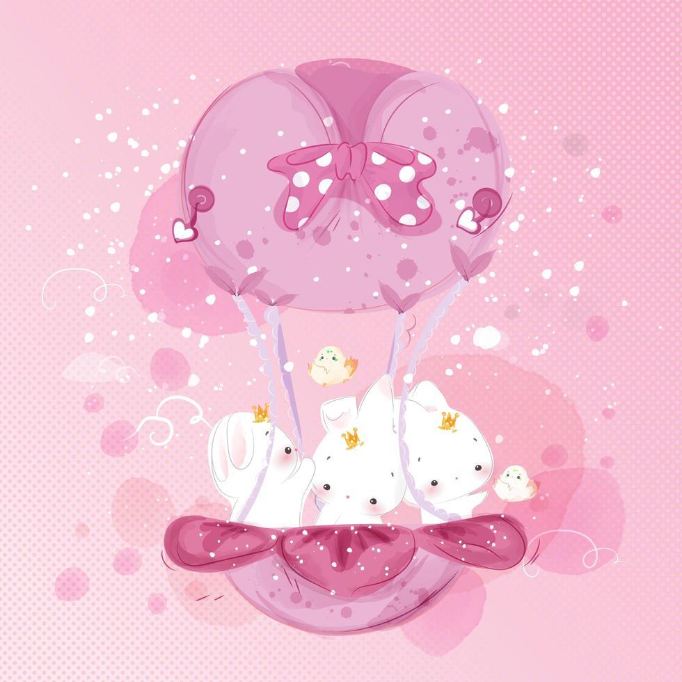 coniglietto con palloncino rosa vettore