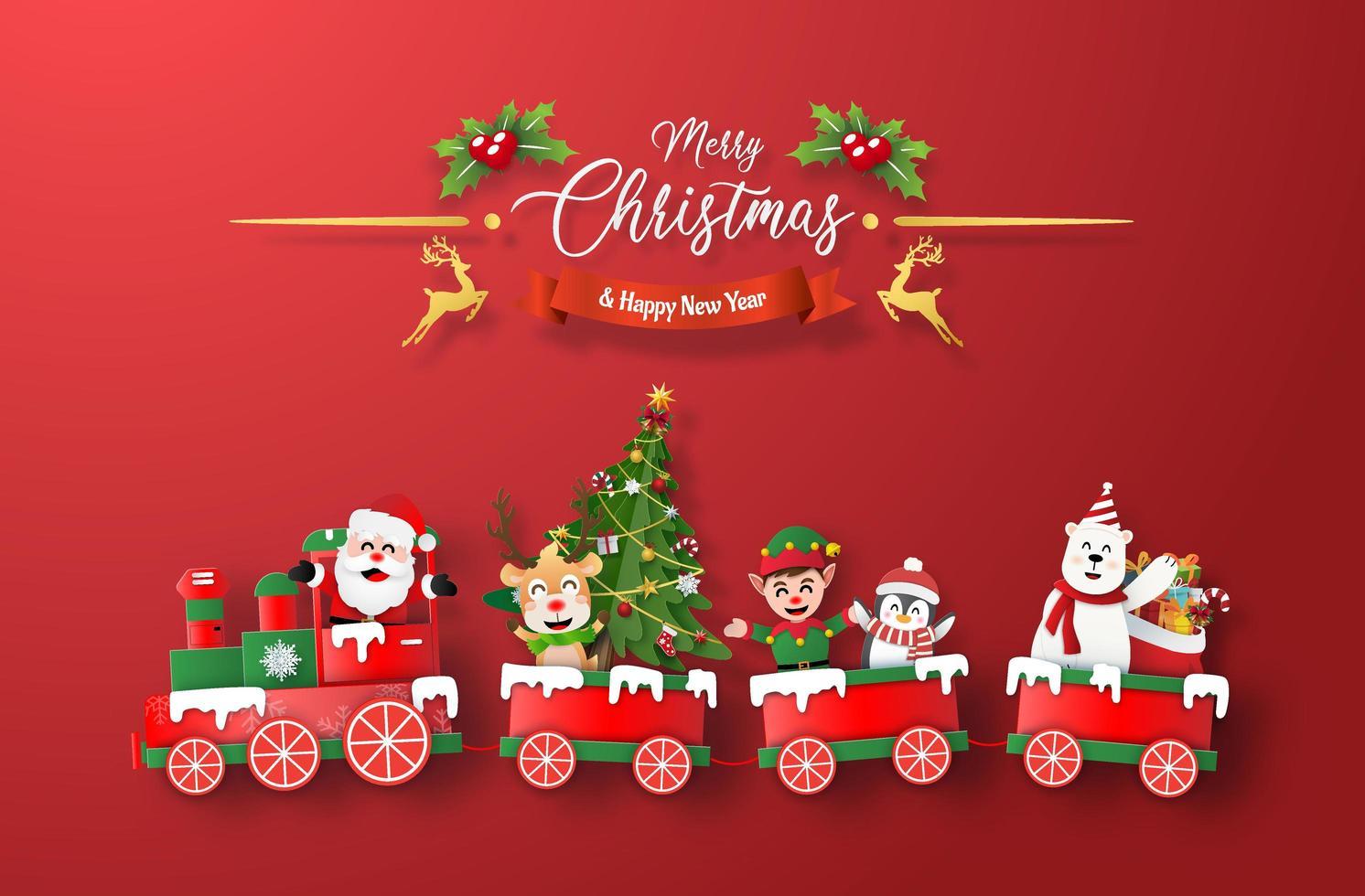arte di carta origami del treno di Natale con Babbo Natale e carattere su sfondo rosso vettore