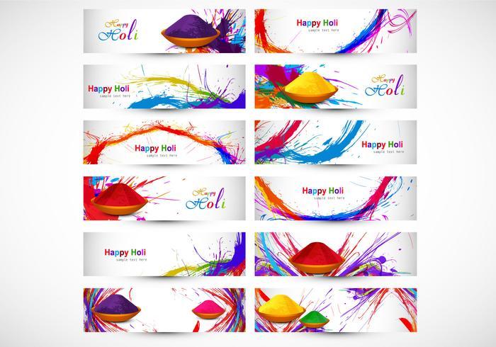Disegni che illustrano Happy Holi vettore