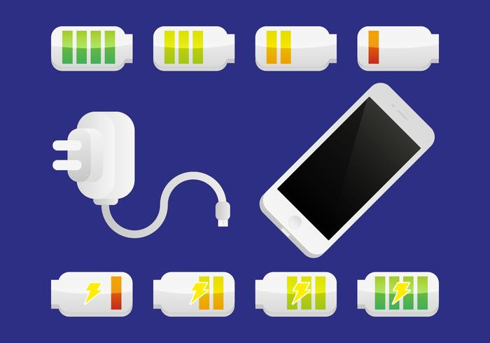 Vettore dell'illustrazione della batteria del caricatore del telefono