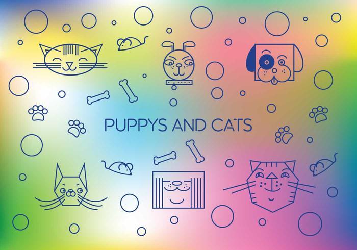 vettore carino di cuccioli e gatti