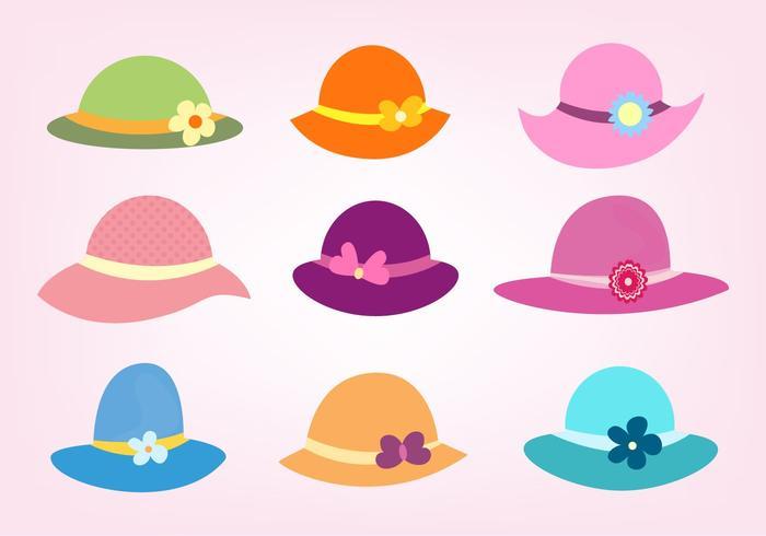 Set vettoriale gratuito di cappelli da donna