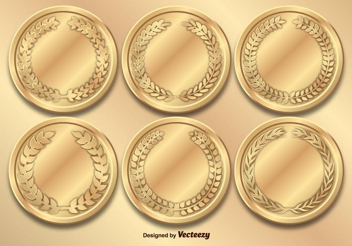 Set vettoriale di medaglie d'oro