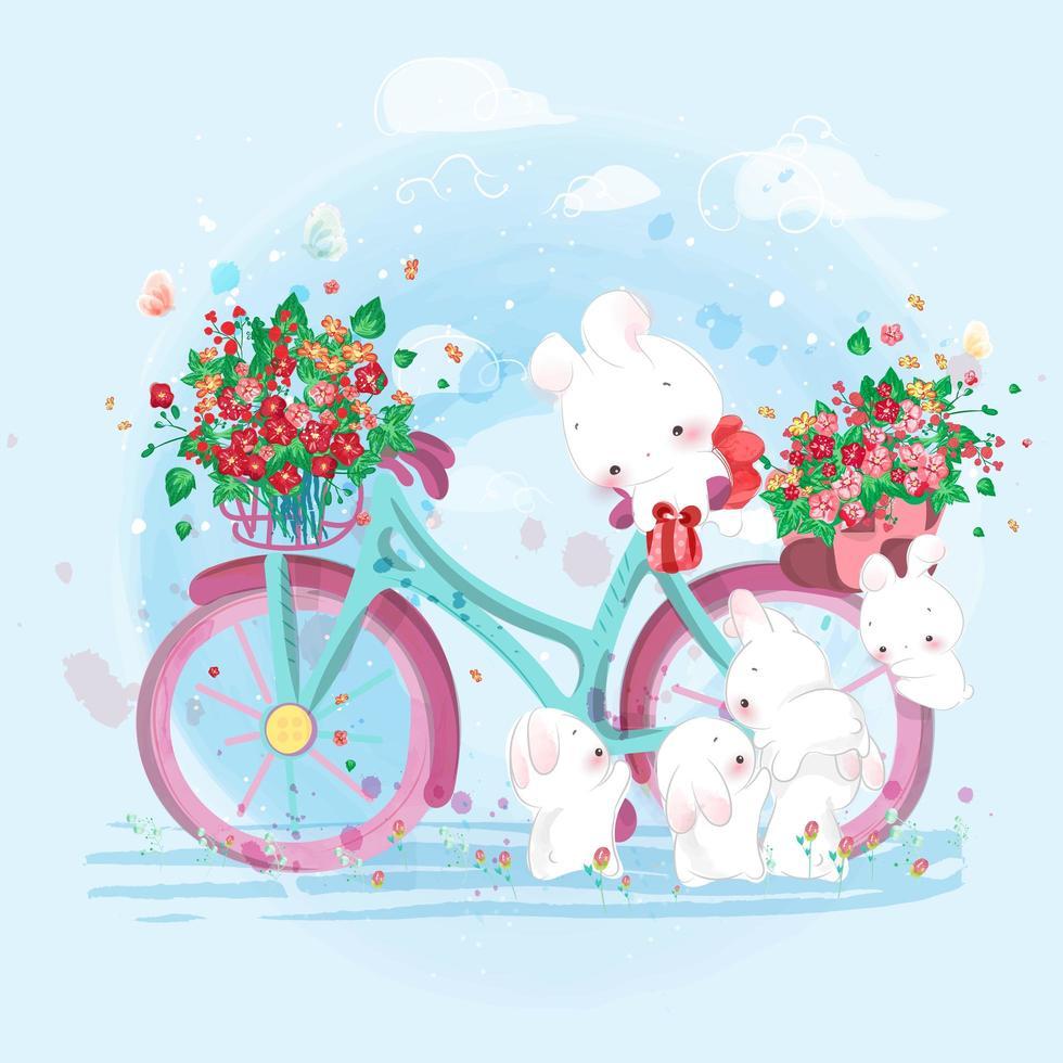 coniglio in sella a una bicicletta piena di fiori vettore