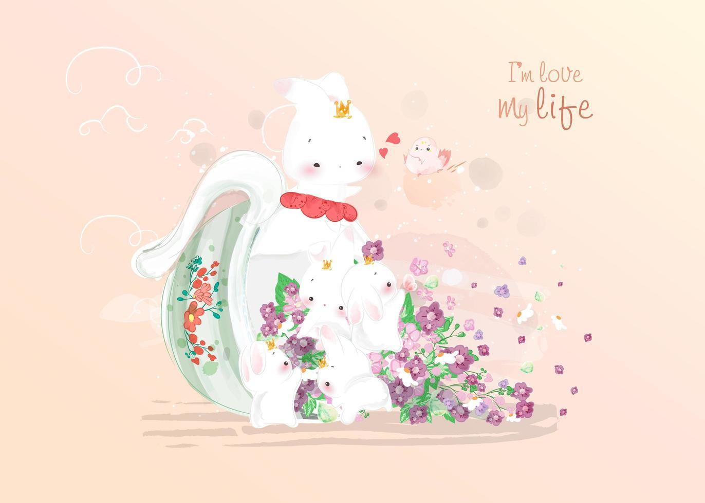 coniglietto con una tazza piena di fiori vettore