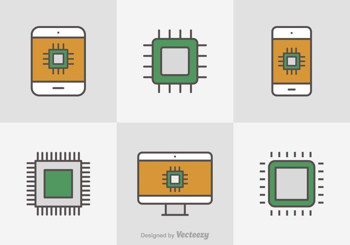 Icone vettoriali gratis linea piatta Microchip
