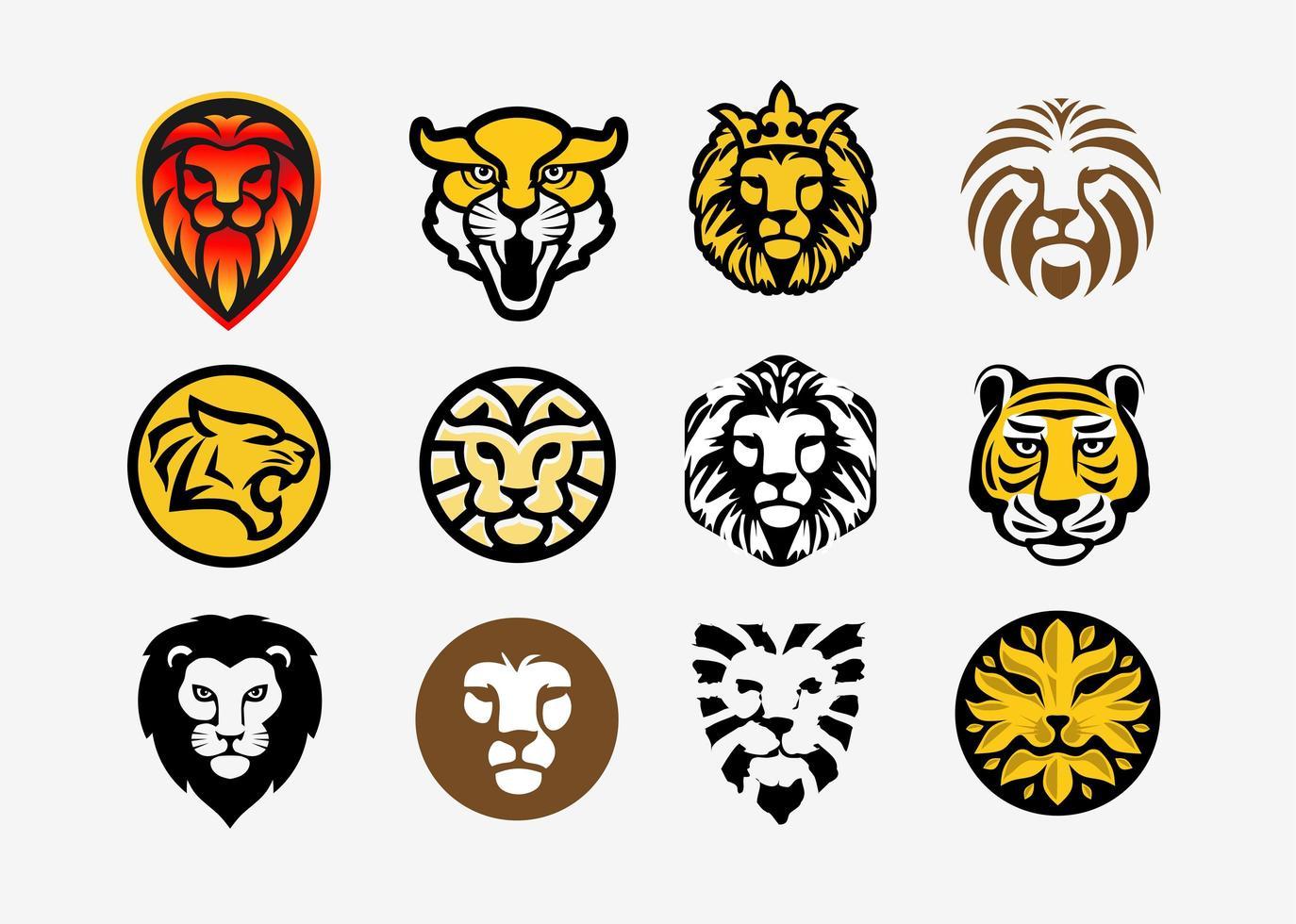 collezione testa di leone e tigre vettore