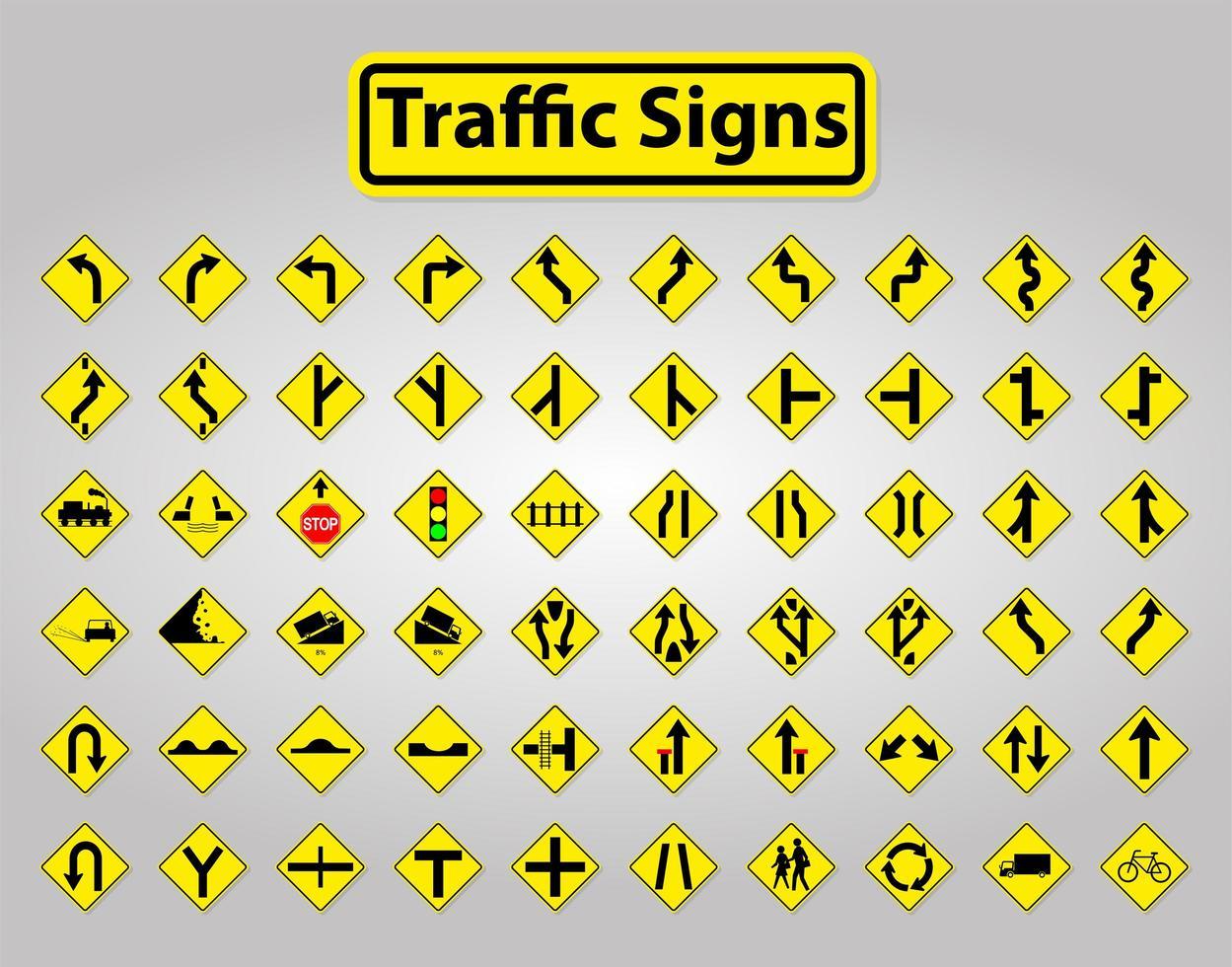 set di segnali stradali giallo e nero vettore