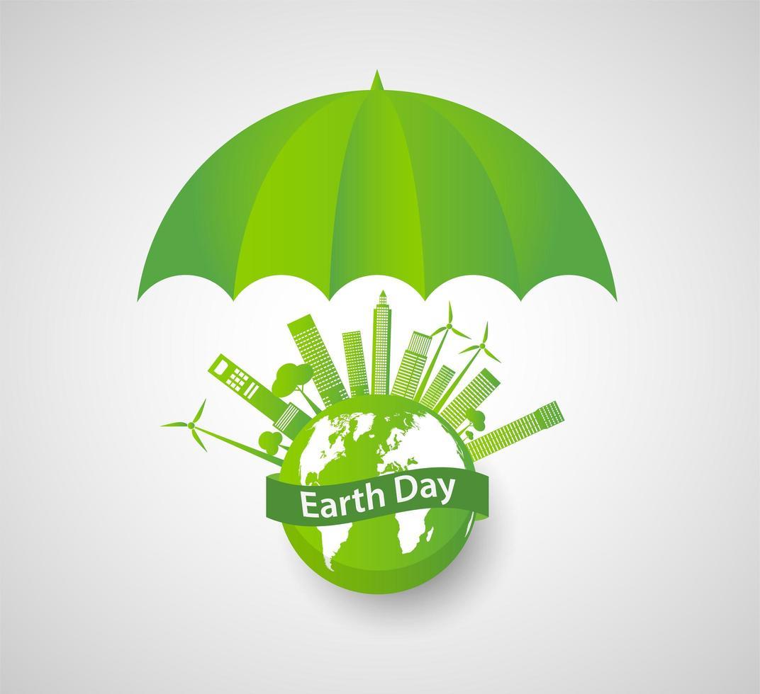 ombrello verde sopra il globo della giornata della terra con paesaggio urbano vettore