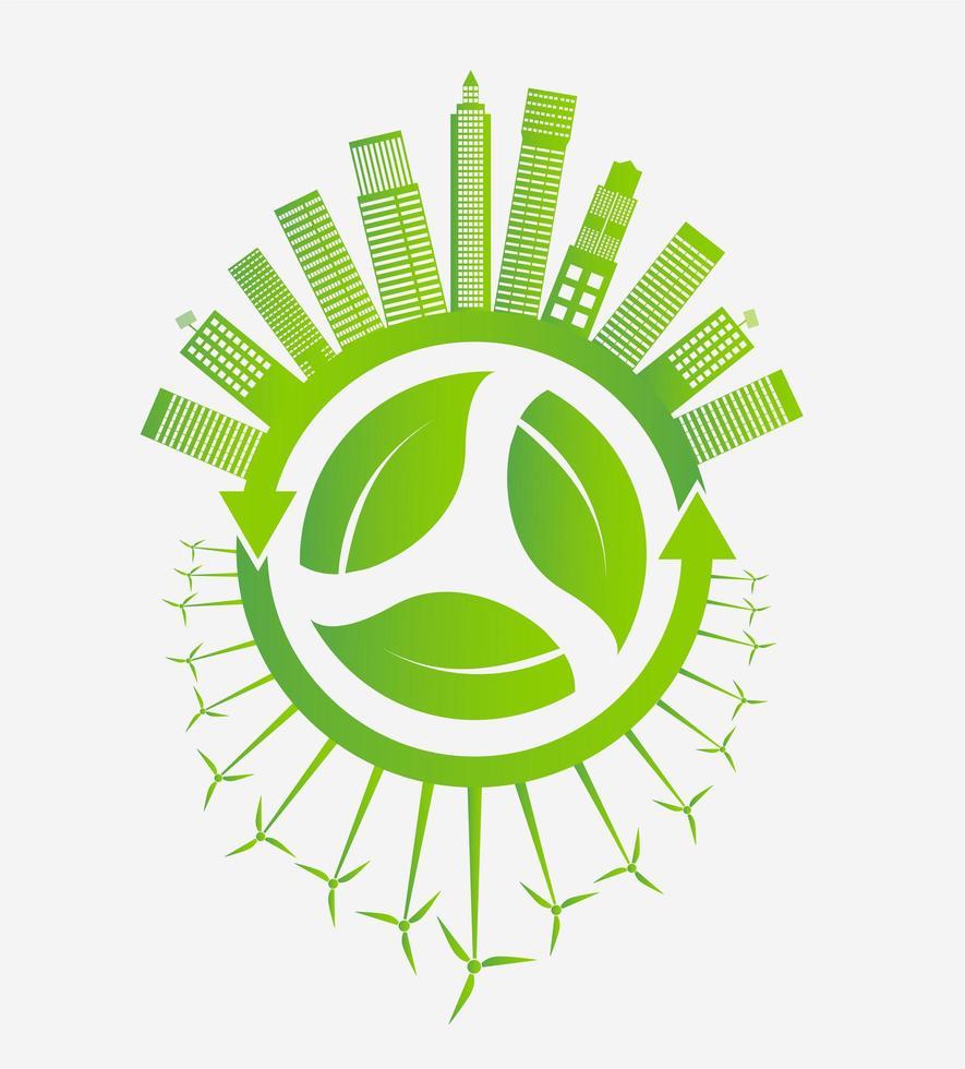 città ecologica verde e turbine eoliche intorno alle foglie vettore