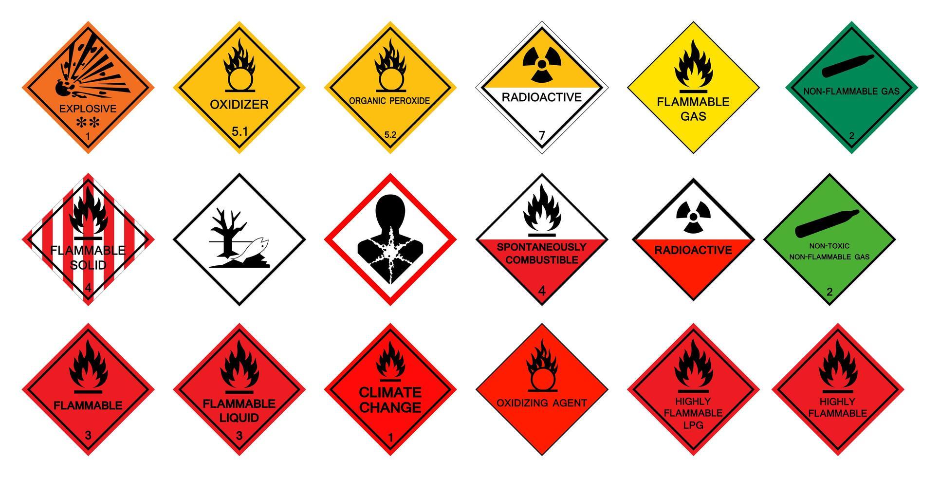 pittogrammi di pericolo per il trasporto impostati vettore