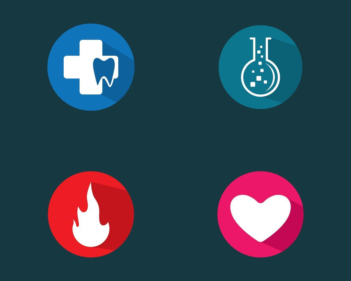 set logo circolare tra cui fiamma e cuore vettore