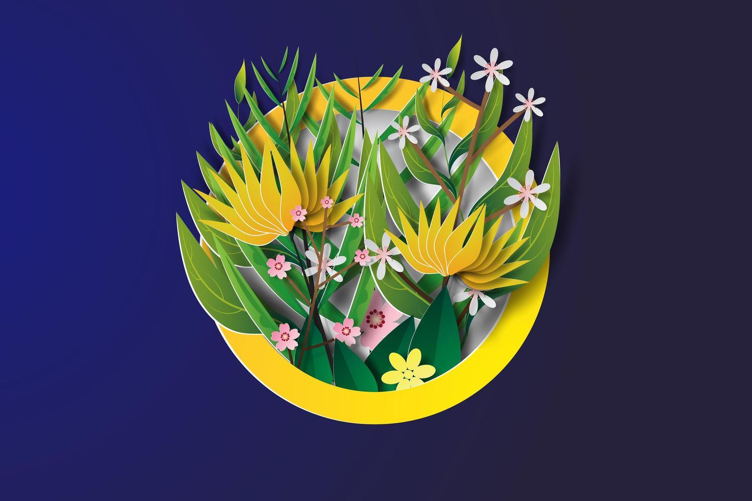 arte di carta del collage di fiori in cerchio vettore