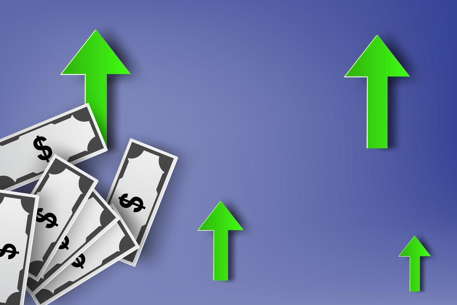 disegno di arte di carta con frecce e banconote da un dollaro vettore