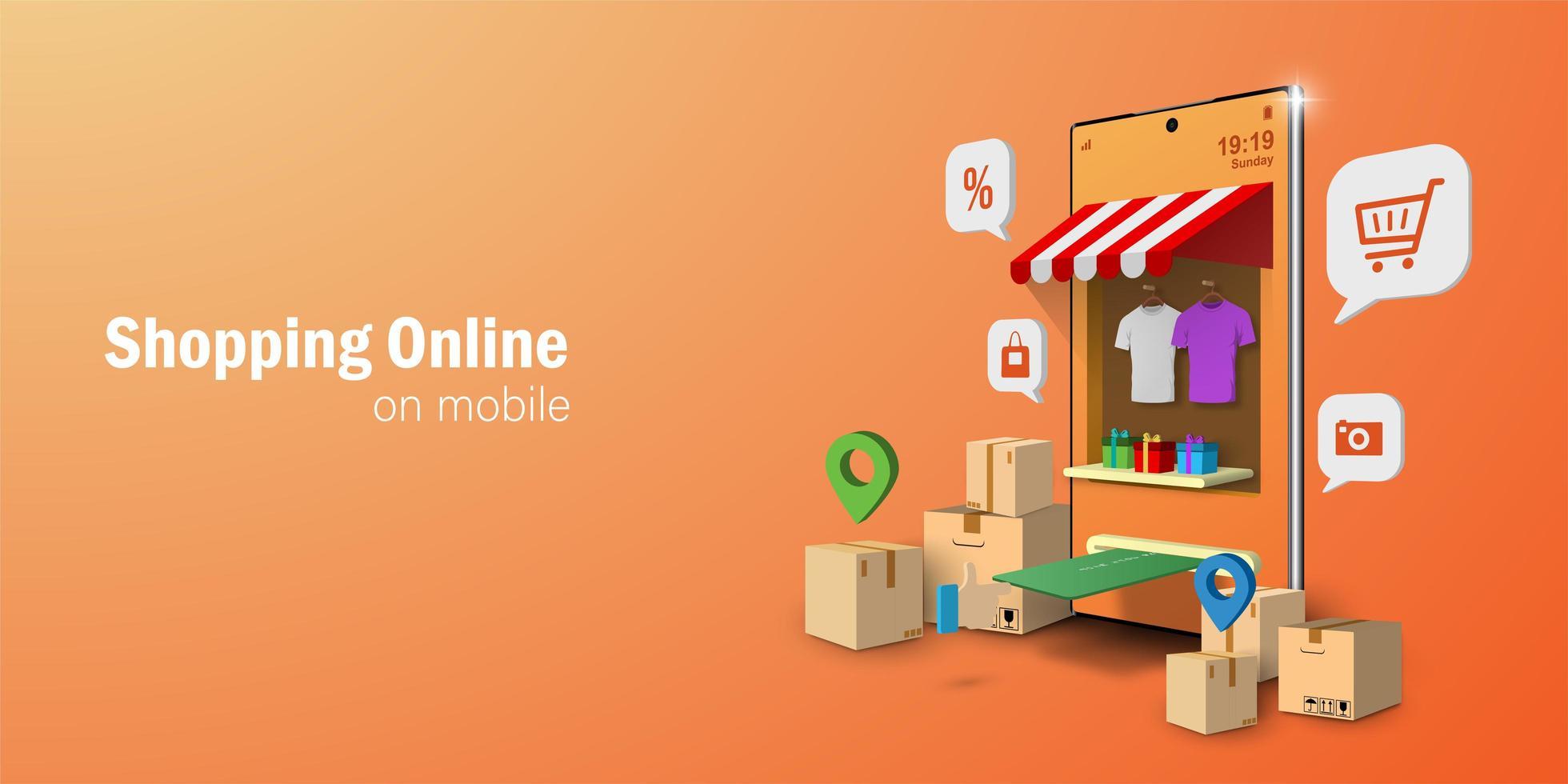 facciata del negozio di concetto di marketing digitale vettore