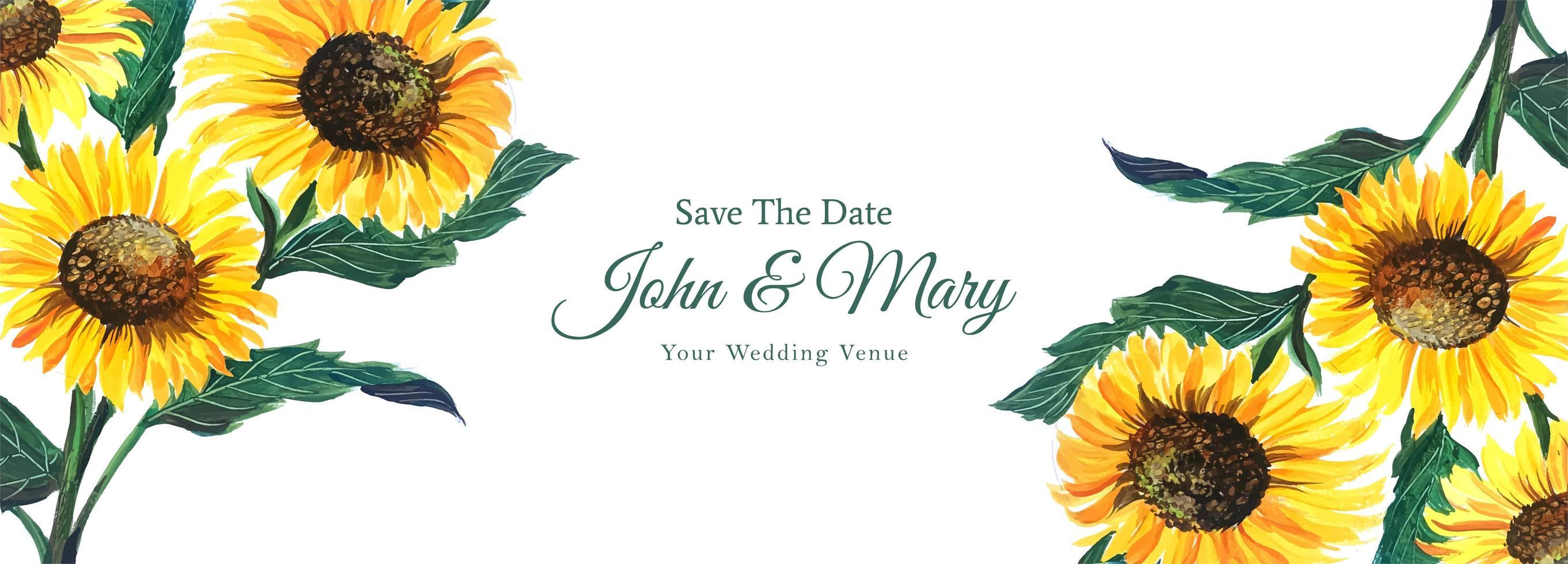 matrimonio decorativo girasole salva il banner della data vettore