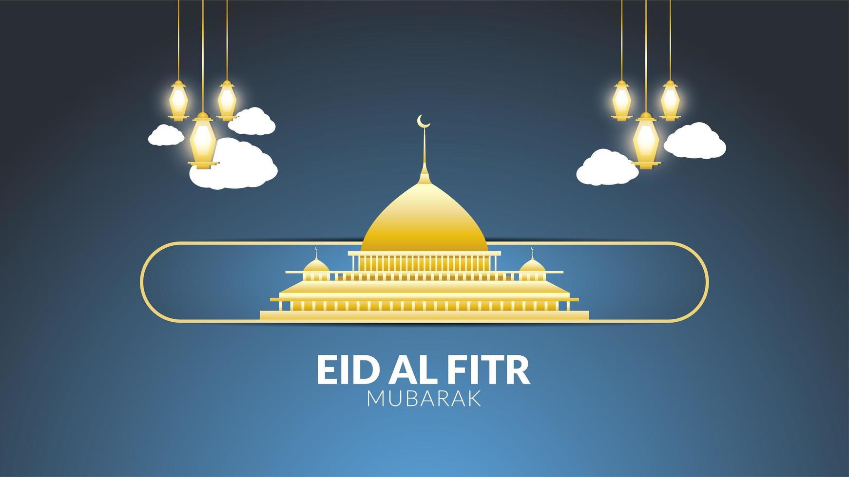 eid al-fitr moschea d'oro vettore
