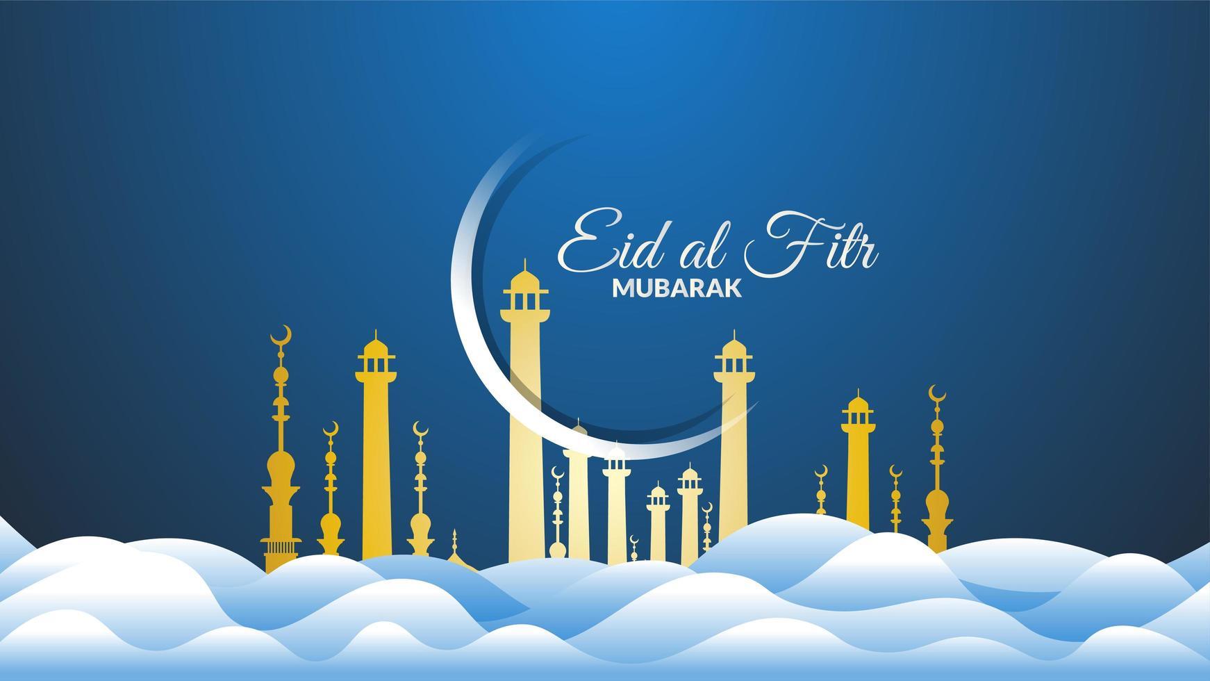 eid al-fitr nuvole blu e luna vettore