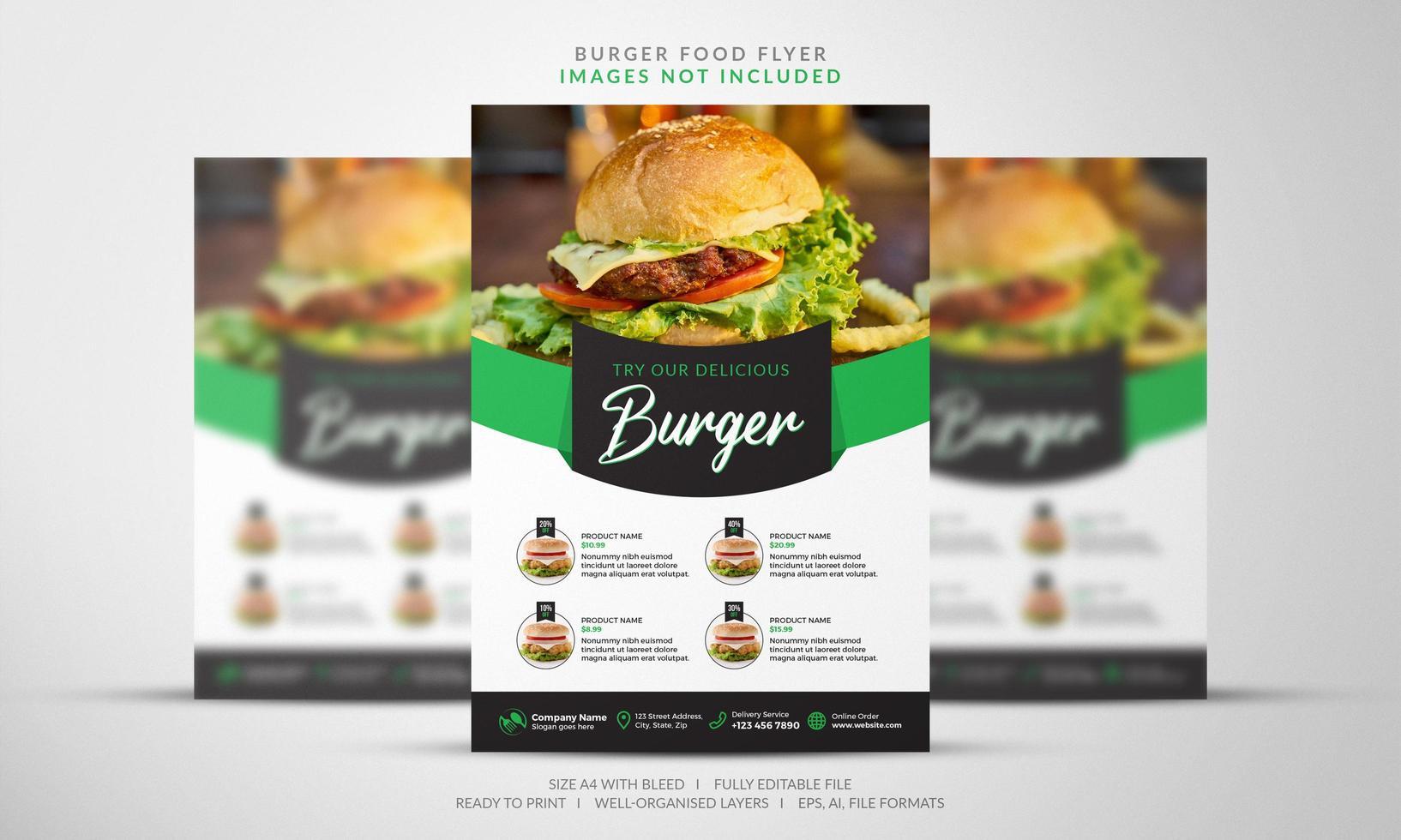 volantino per hamburger in verde e nero vettore