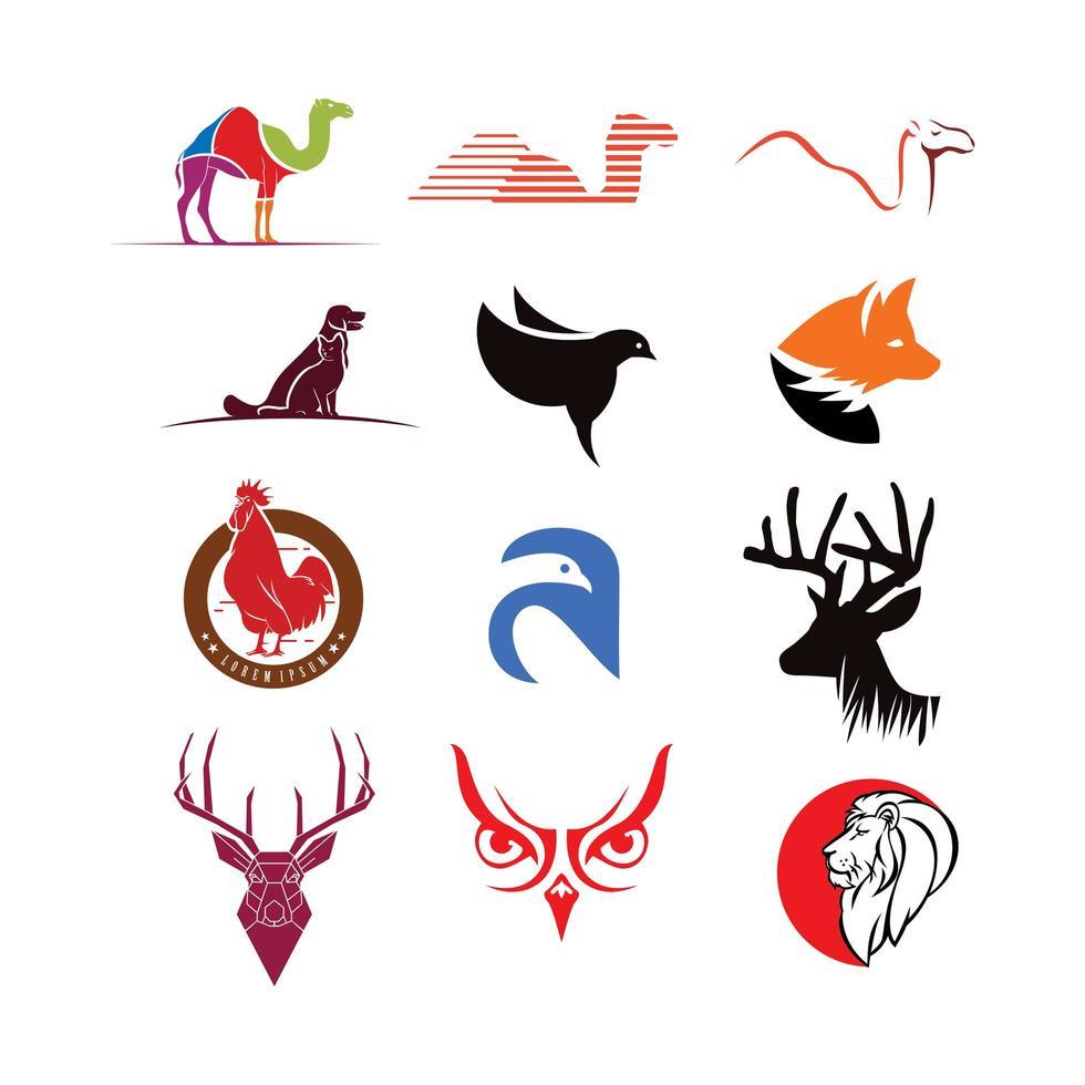 collezione di loghi animali vettore