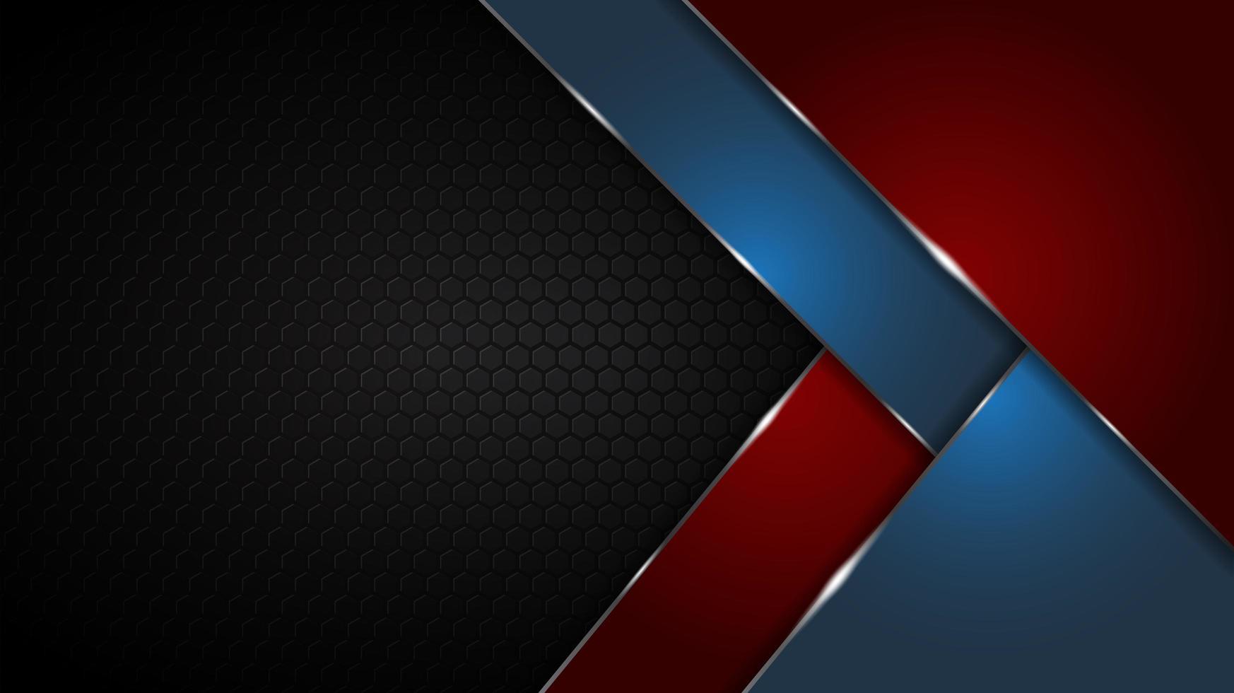 astratto nero con texture geometrica rosso e blu forme di sfondo vettore