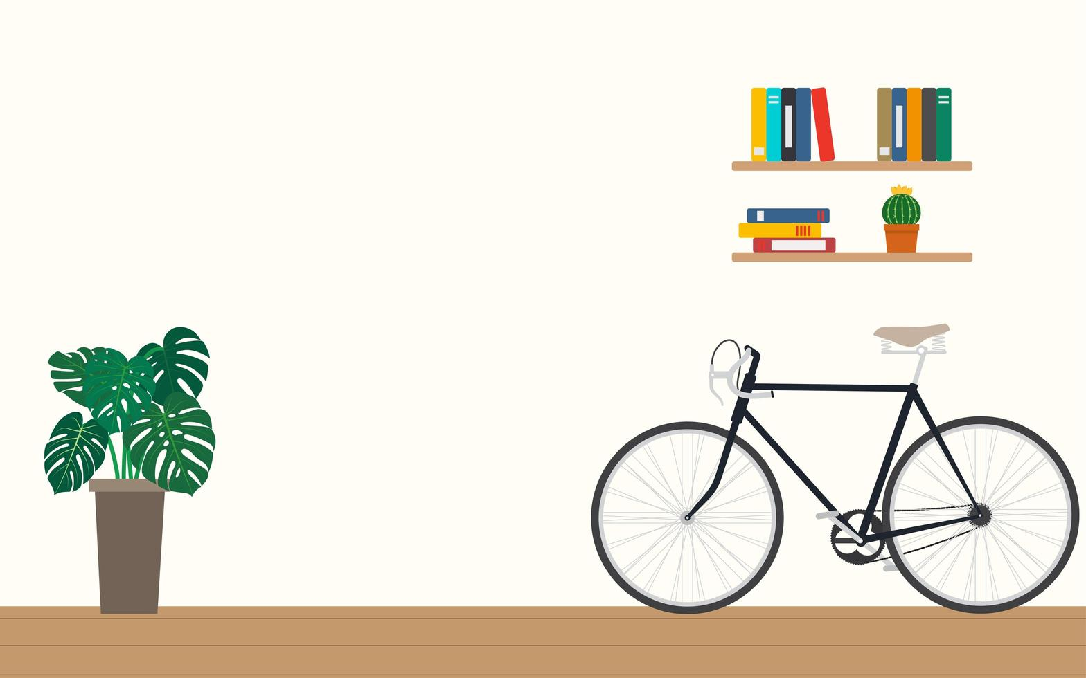 progettazione di un moderno ufficio a casa con la bicicletta vettore
