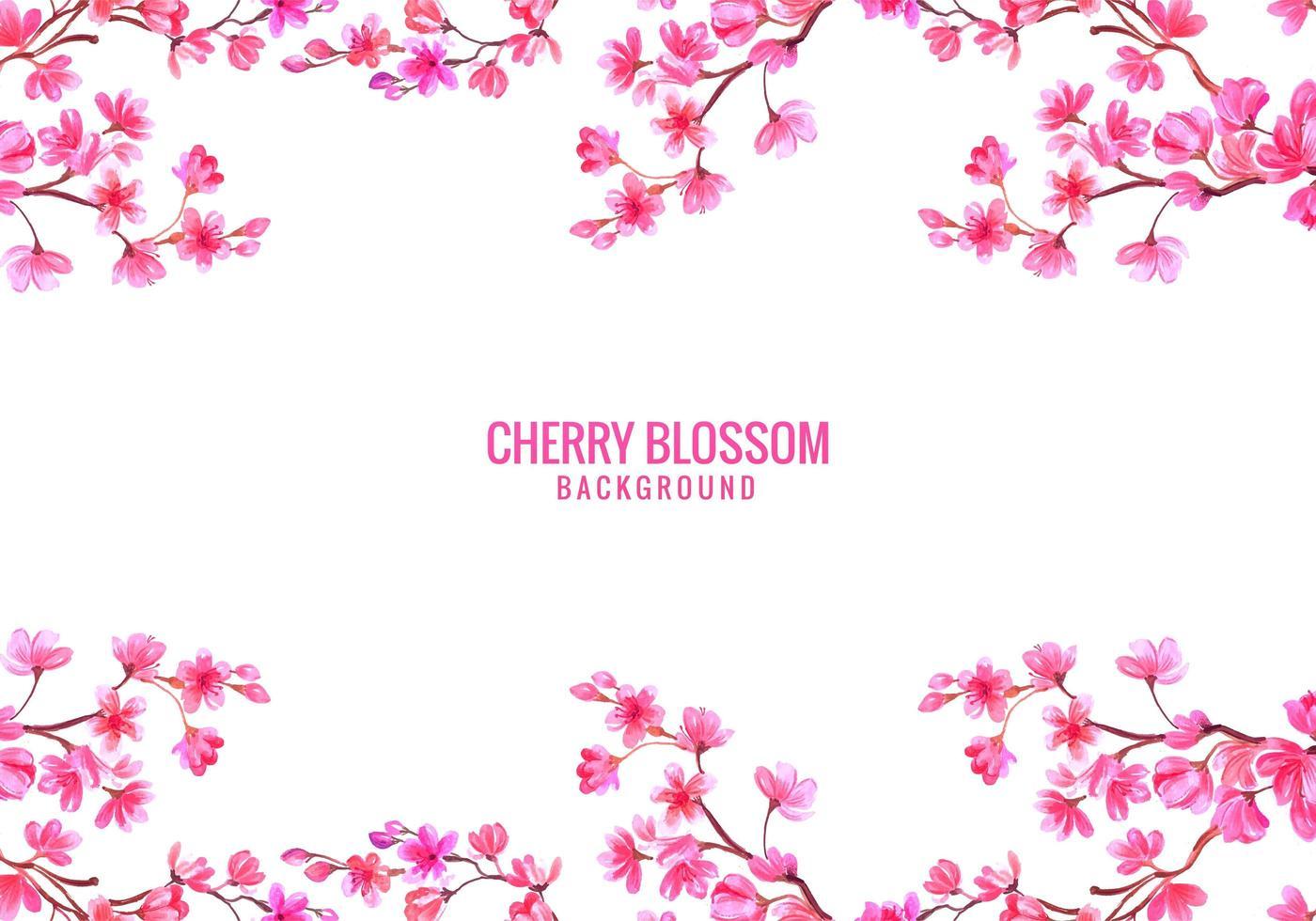 sfondo rosa fiori di ciliegio vettore