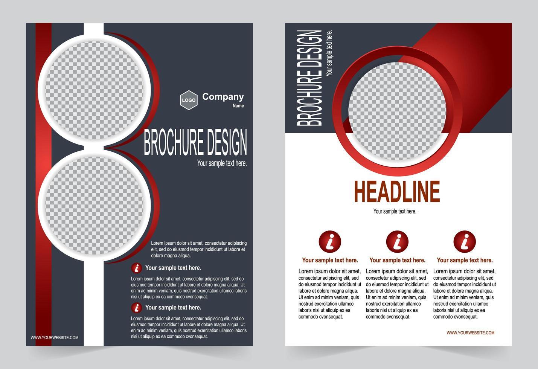 modello di colore rosso e grigio brochure vettore
