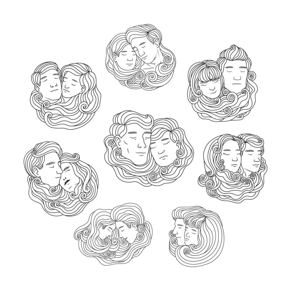 insieme di testa coppia coppia maschio e femmina disegnata a mano vettore