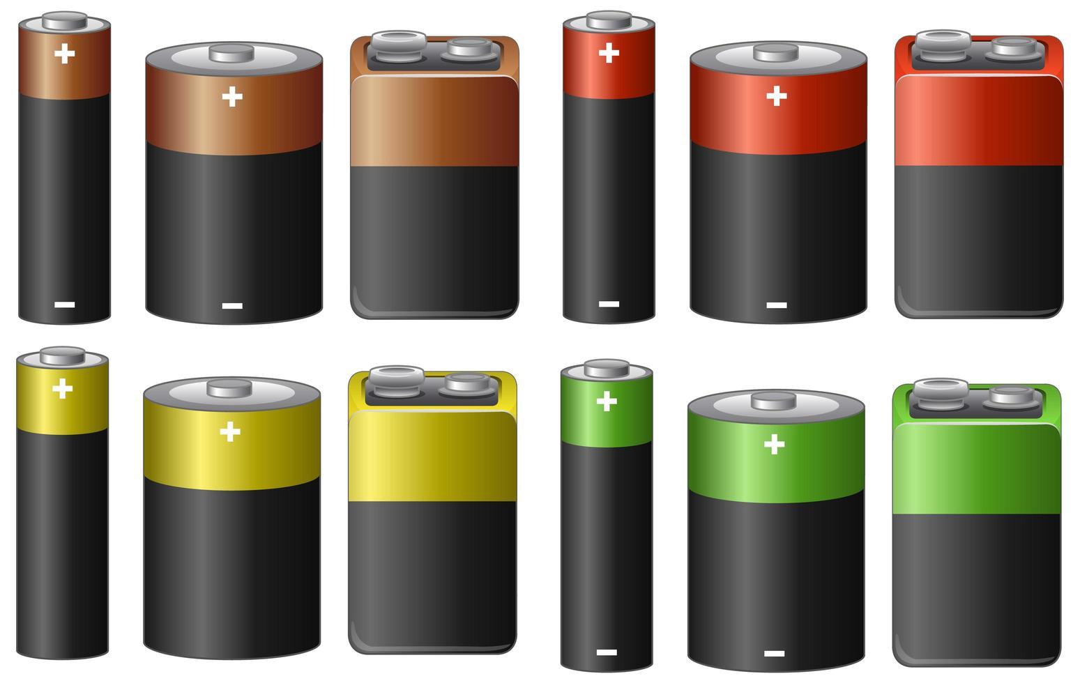 set di batterie in diverse dimensioni e colori vettore