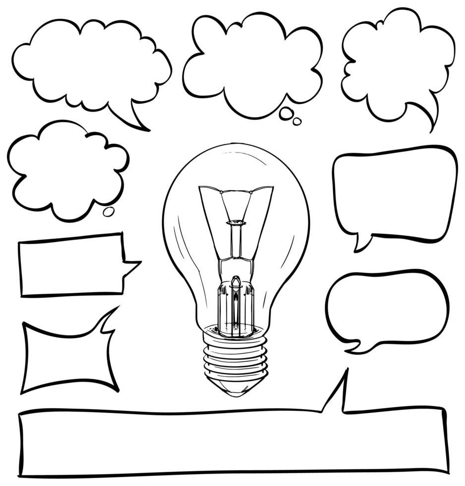 bolle di discorso impostato con lampadina in mezzo vettore