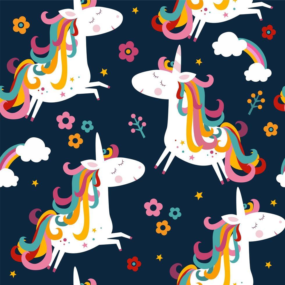 modello di unicorno e fiori senza soluzione di continuità vettore