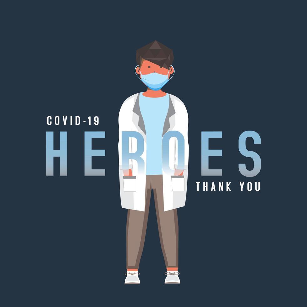 covid 19 character design di eroe medico vettore