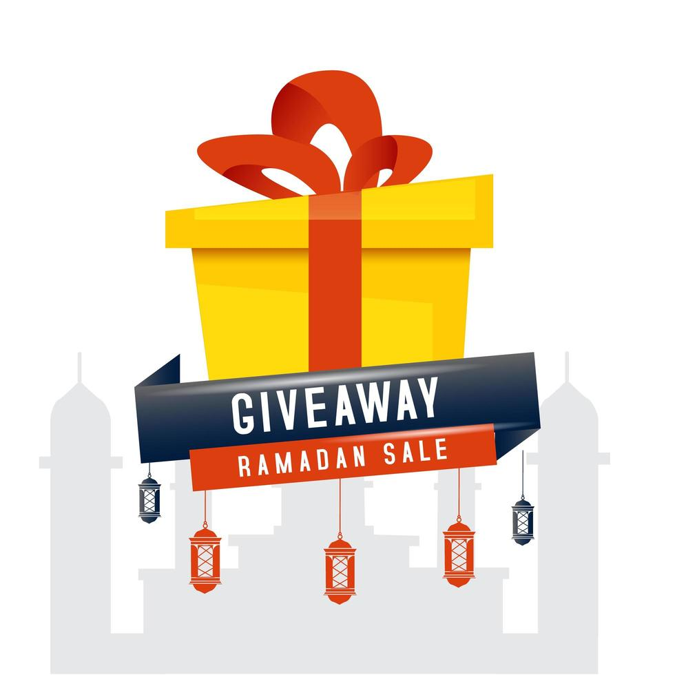 Ramadan vendita giveaway box design vettore
