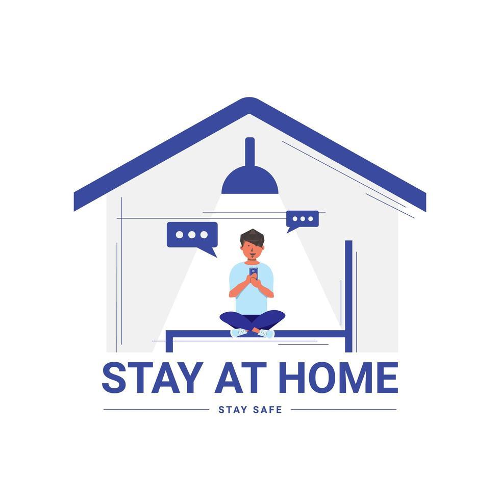 mandare un sms a casa a casa al sicuro dal coronavirus vettore
