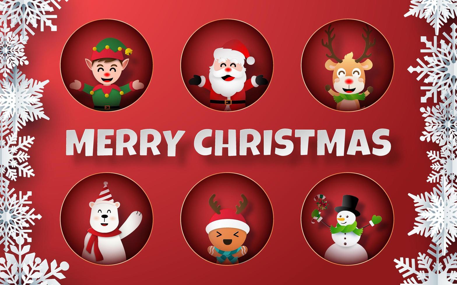 arte cartacea della collezione di personaggi natalizi vettore