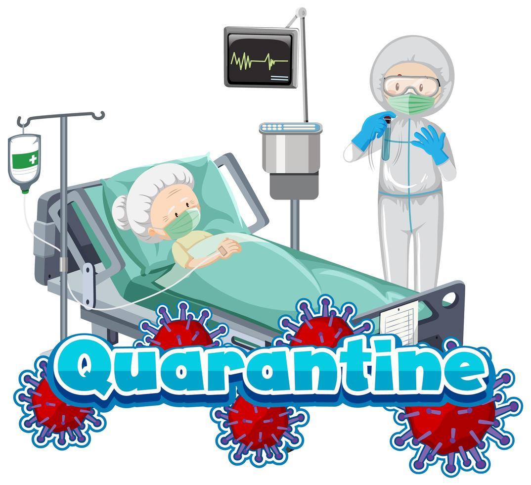 progettazione di poster di quarantena con donna malata e medico all'ospedale vettore