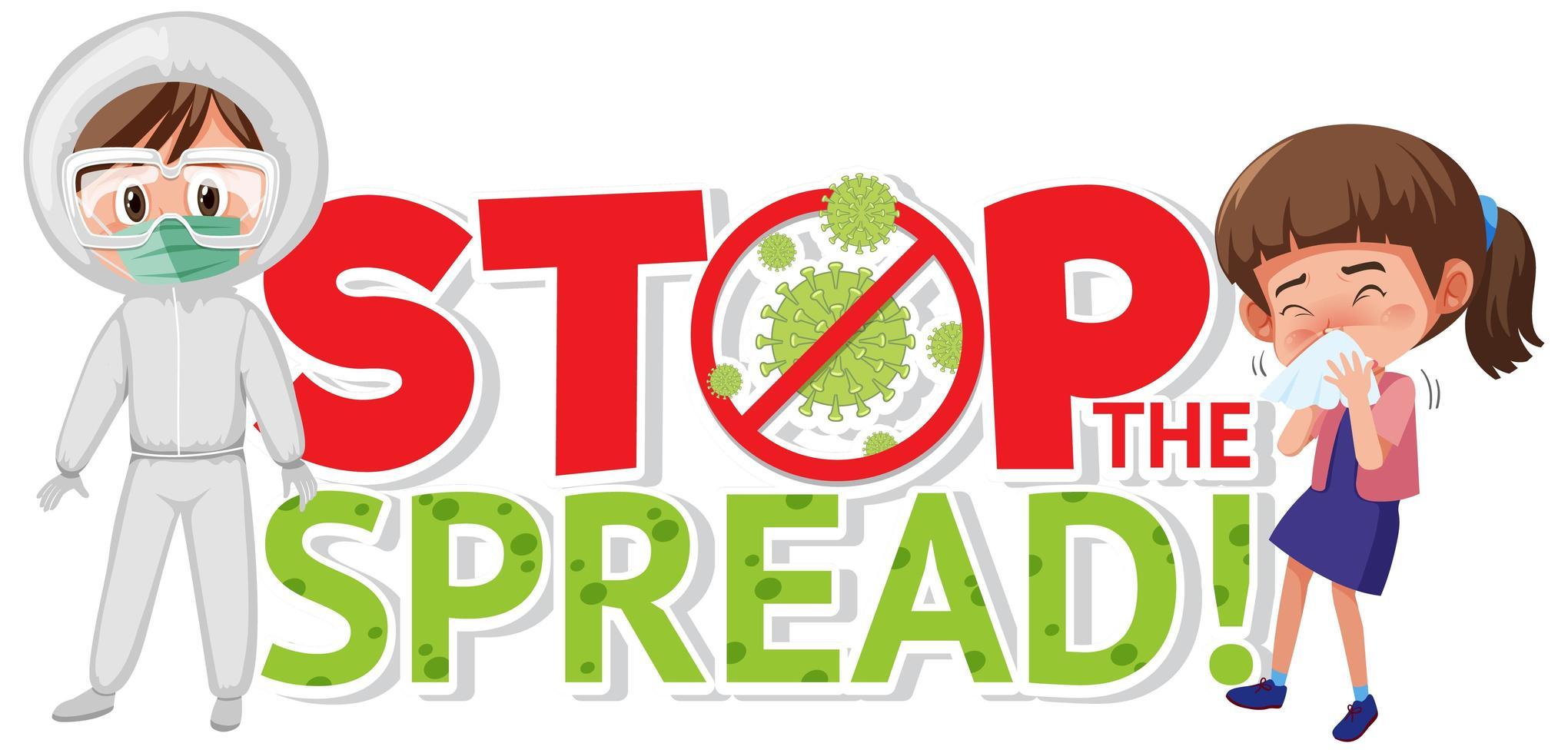 poster di coronavirus con arresto del disegno diffuso con persona in tuta a rischio biologico vettore