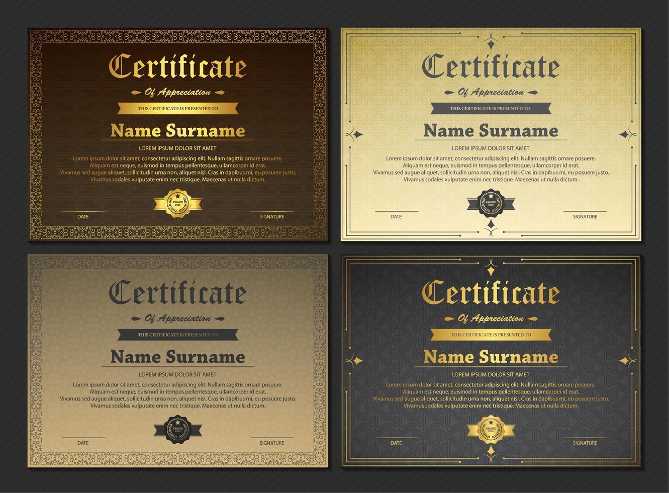set di modelli di certificato vettore