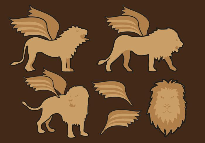 Vettore delle illustrazioni dei leoni alati