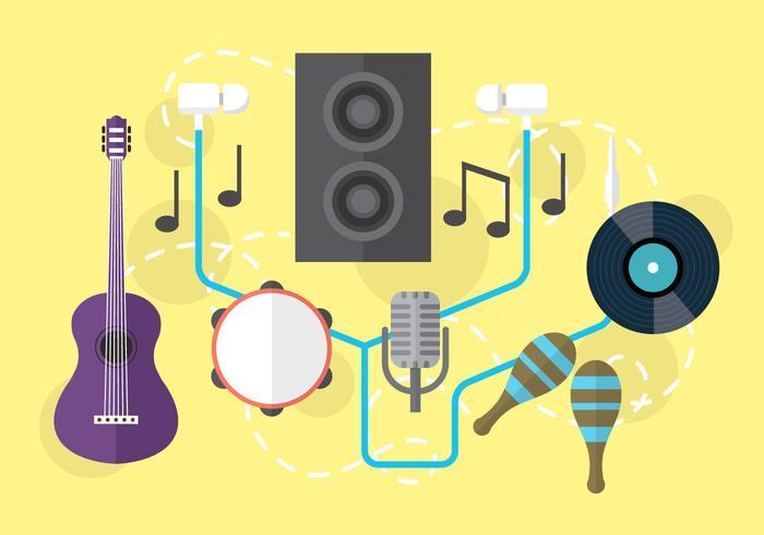 Oggetti audio musicali vettoriali