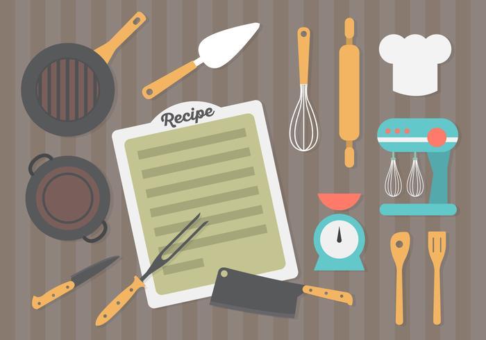 Fondo piano dell'attrezzatura della cucina di progettazione vettore