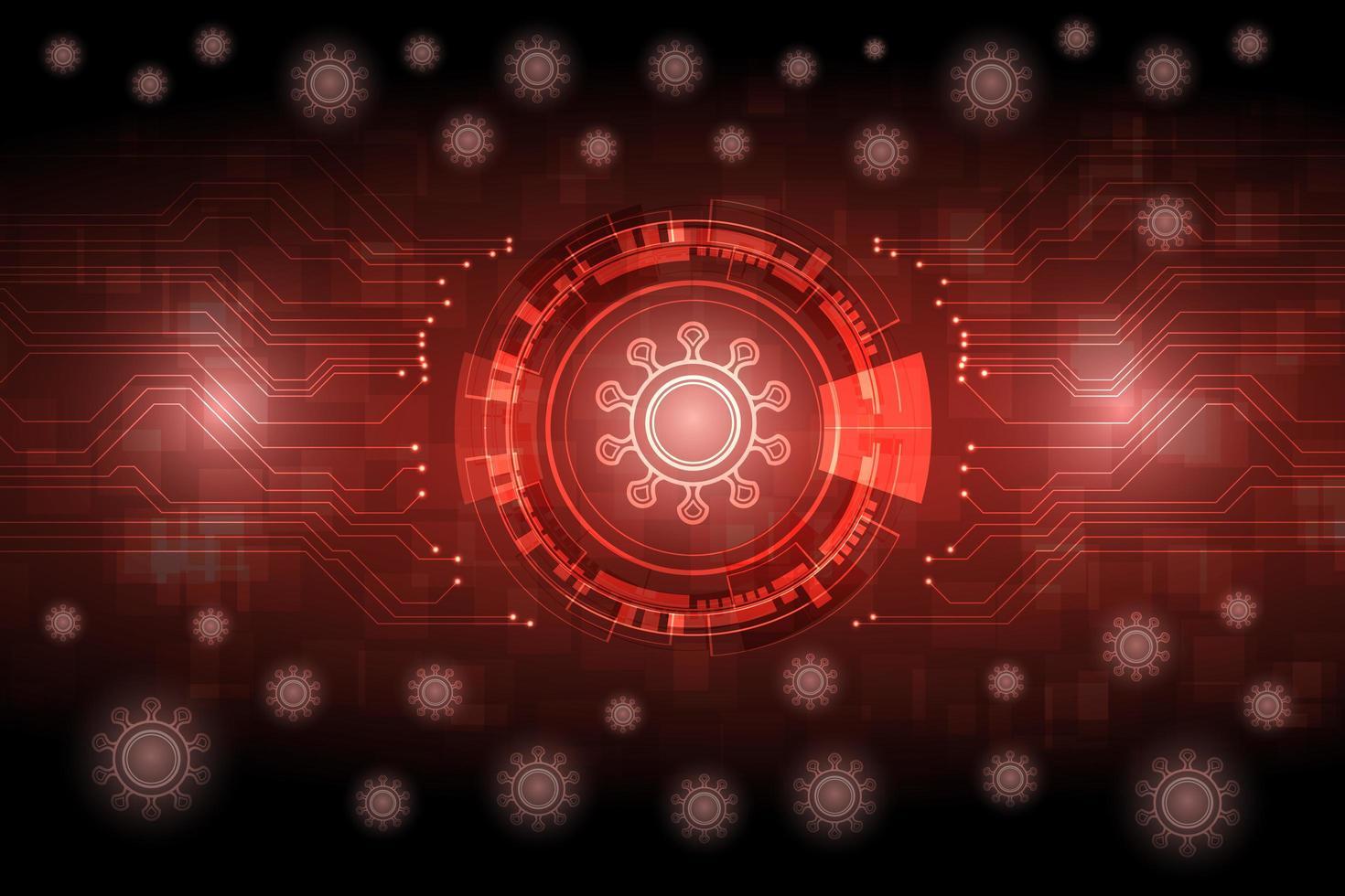 sfondo rosso futuristico incandescente virus vettore