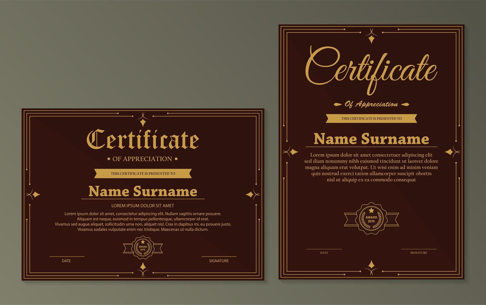 modello di certificato di apprezzamento vettore