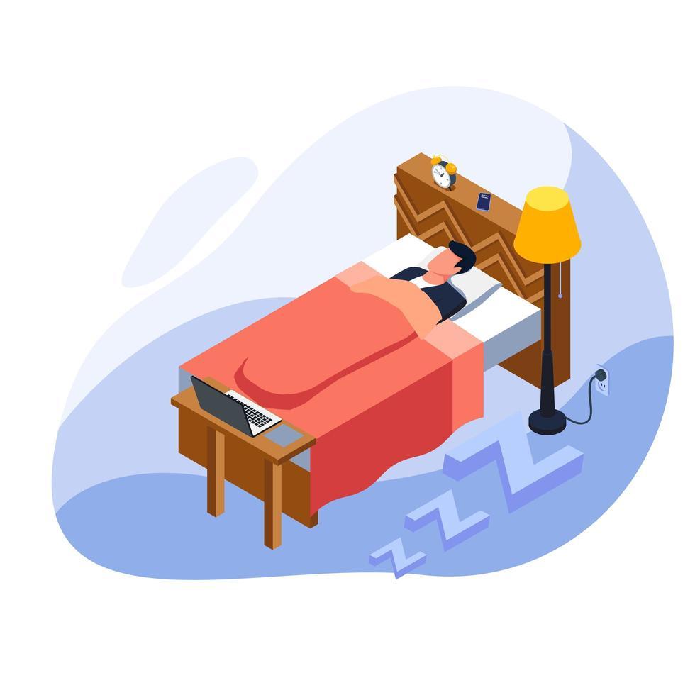 uomo stanco e dormendo nel letto davanti al suo computer portatile vettore