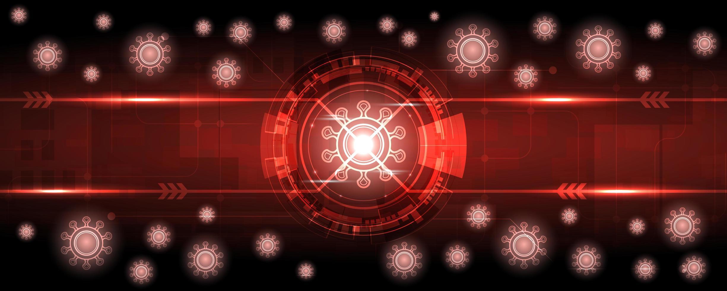 sfondo rosso incandescente tecnologia coronavirus vettore